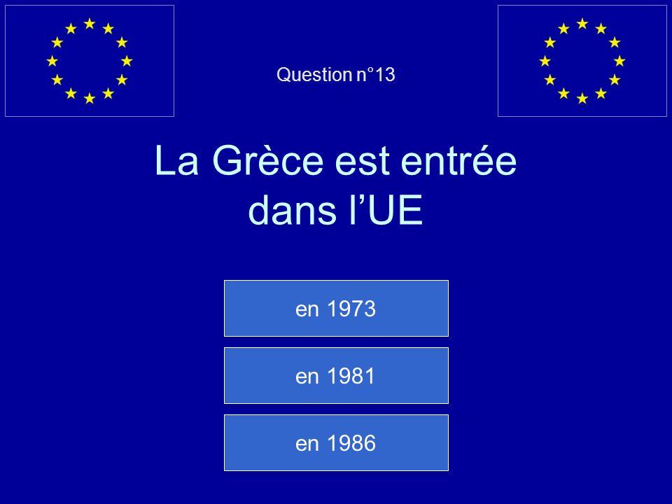 Question n°13 La Grèce est entrée dans lUE en 1973 en 1981 en 1986