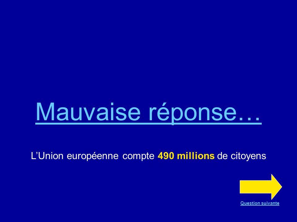 Mauvaise réponse… LUnion européenne compte 490 millions de citoyens Question suivante