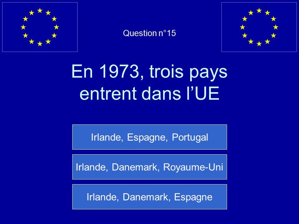 Question n°15 En 1973, trois pays entrent dans lUE Irlande, Espagne, Portugal Irlande, Danemark, Royaume-Uni Irlande, Danemark, Espagne