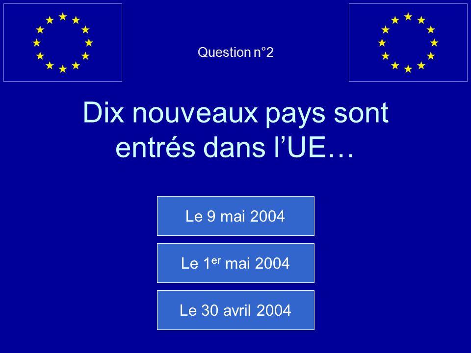 Question n°2 Dix nouveaux pays sont entrés dans lUE… Le 9 mai 2004 Le 1 er mai 2004 Le 30 avril 2004