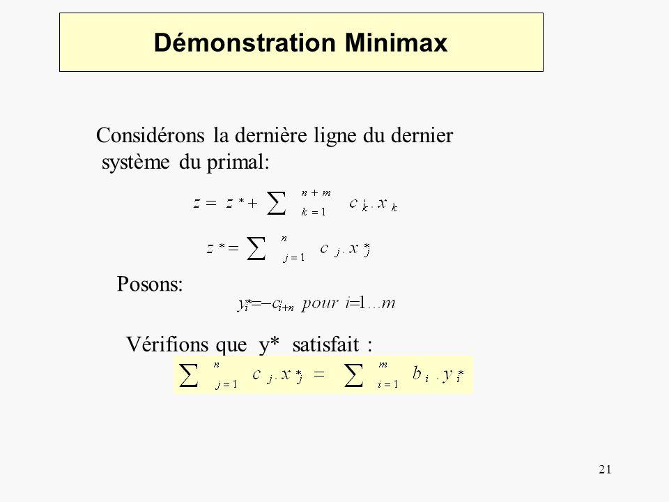 22 Démonstration Minimax Les variables décart sont définies comme: Comparant les coefficients de xj Et on conclut: