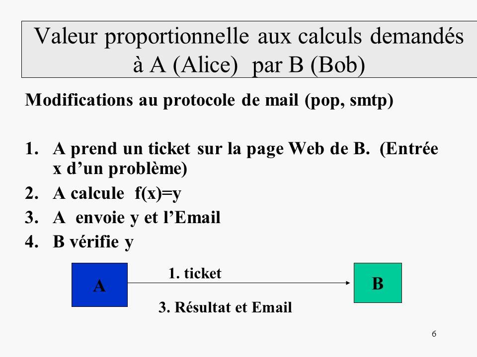 7 A calcule une fonction polynomiale A prend un ticket sur la page Web de B.
