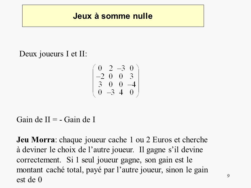 10 Gain du Jeu Gain du jeu : Joueur I : Réponse de II peut être pure Toute solution pure doit satisfaire