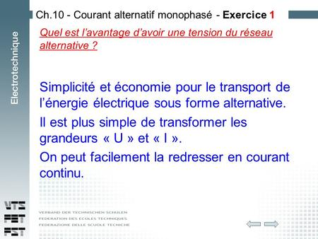 Ch.10 - Courant alternatif monophasé - Exercice 1