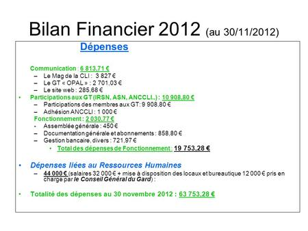 Bilan Financier 2012 (au 30/11/2012) Dépenses Communication : 6 813,71 € –Le Mag de la CLI : € –Le GT « OPAL » : 2 701,03 € –Le site web : 285,68.