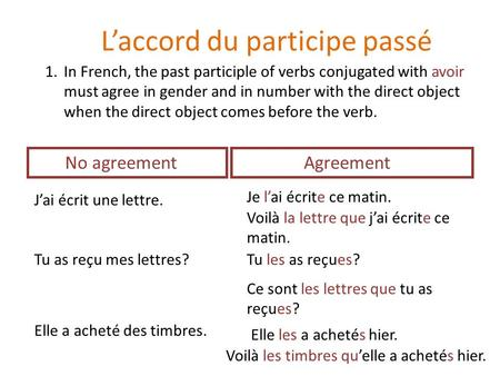 L'accord du participe passé 1.In French, the past participle of verbs conjugated with avoir must agree in gender and in number with the direct object when.