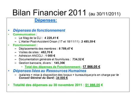 Bilan Financier 2011 (au 30/11/2011) Dépenses: Dépenses de fonctionnement Communication : –Le Mag de la CLI : 4 228,41 € –L'Atelier Post-Accident Orsan.
