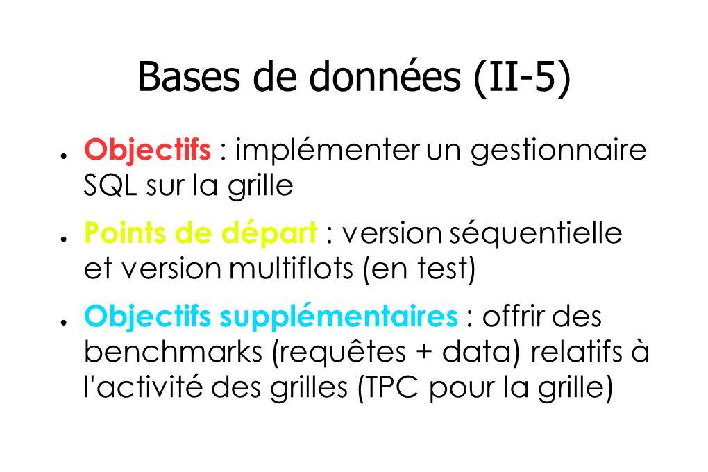 Bases de données (II-5) Compétences : gestionnaire SQL (seq.) avec des perfs > 8-10 Orable, IBM...