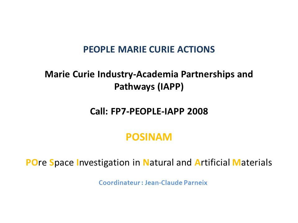 POSINAM : PARTICIPANTS Poitiers (France ) Université de Poitiers HYDRASA (France ) Université de Helsinki HYRL (Finlande )