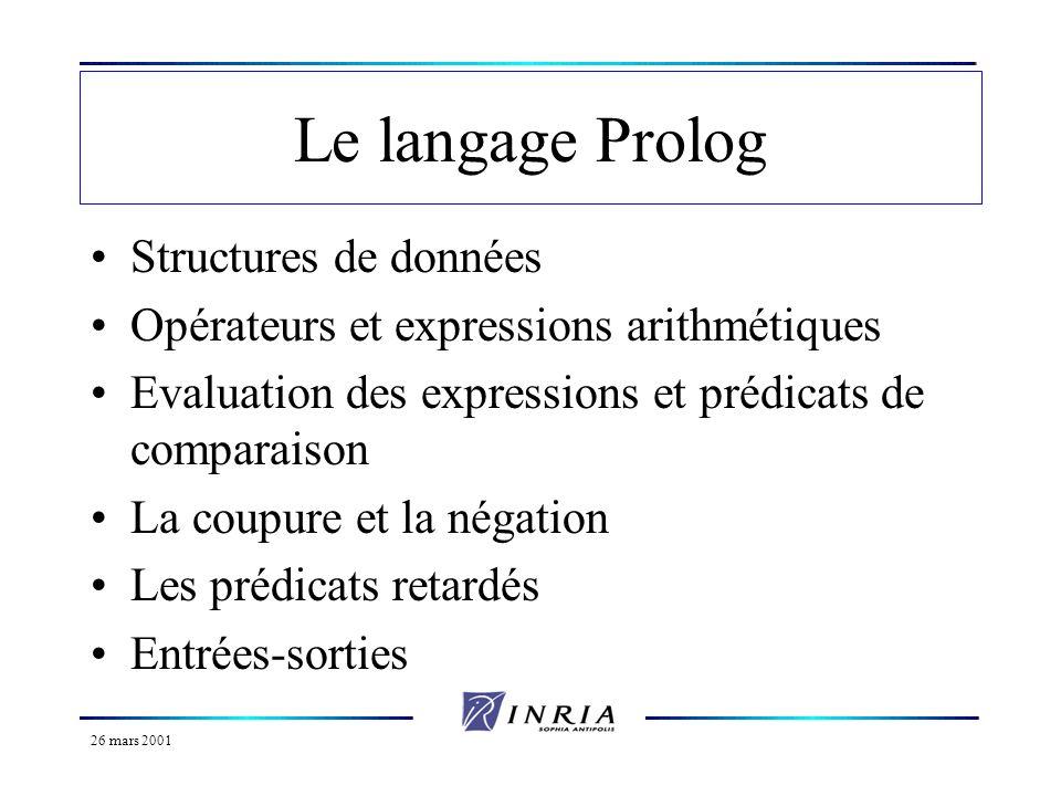 26 mars 2001 Structures de données Déjà vu : objets atomiques (nombres et variables) Il existe aussi une structure de données plus complexe appelée arbre Prolog ou structure Prolog.