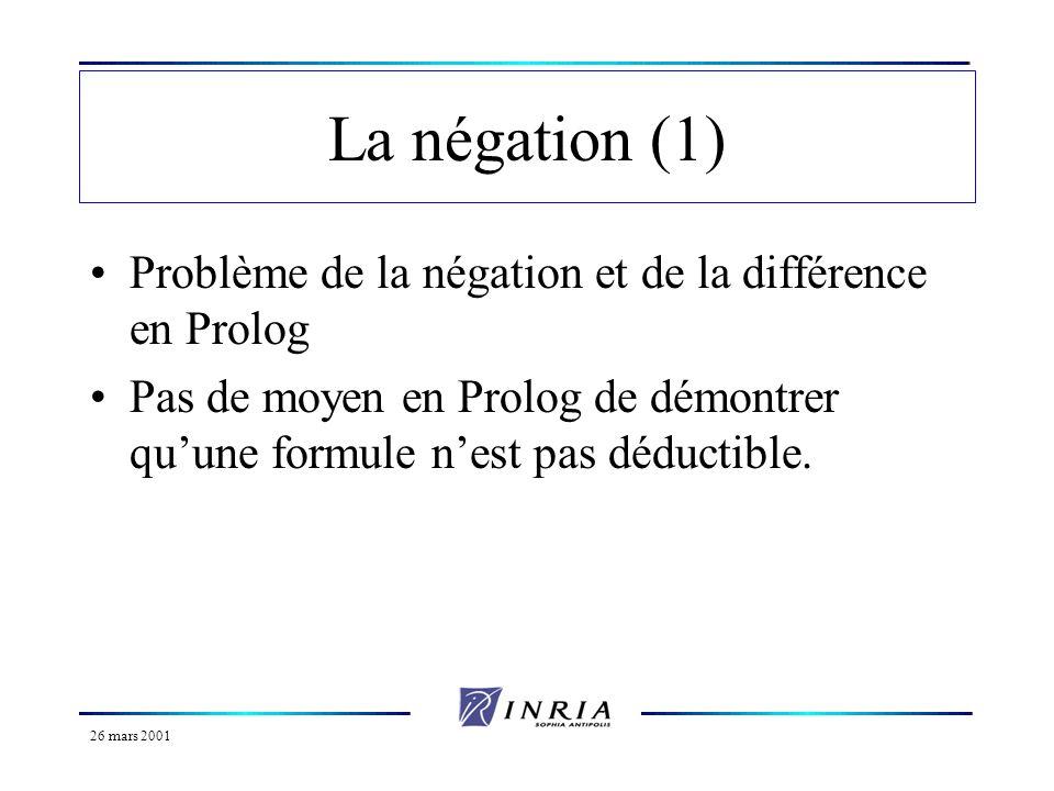 26 mars 2001 La négation (2) Négation par l échec *Si F est une formule, sa négation est notée not(F) ou not F.