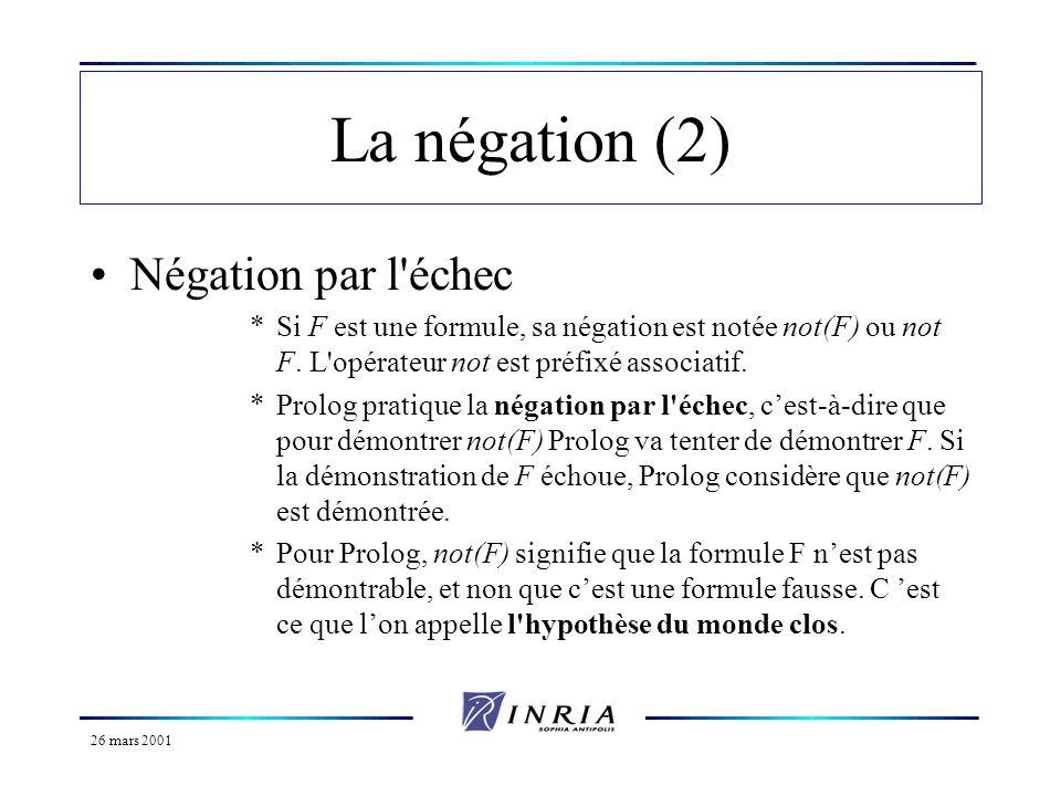 26 mars 2001 La négation (3) Elle est utilisée pour vérifier quune formule nest pas vraie.