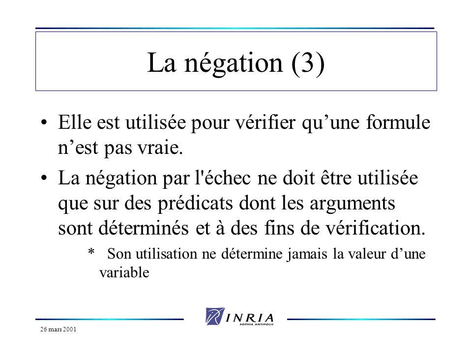 26 mars 2001 La négation (4) Dangers : *Considérez le programme suivant : p(a).