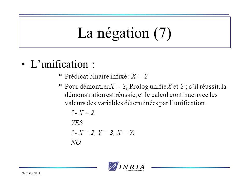 26 mars 2001 La négation (fin) La différence est définie comme le contraire de lunification *Elle est notée : X \= Y.