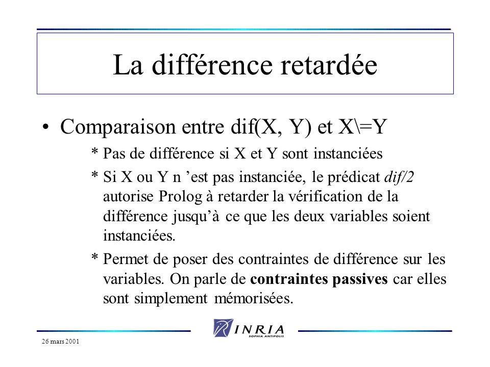 26 mars 2001 Le gel des prédicats Généralisation de la différence retardée à nimporte quel prédicat.