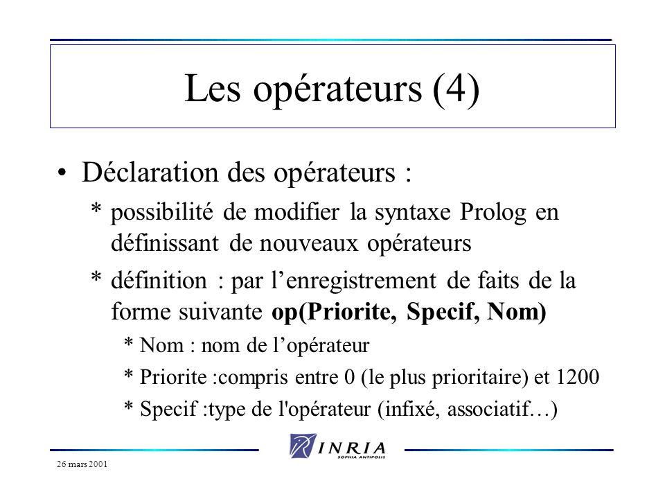 26 mars 2001 Les opérateurs (5) Exemple de déclaration dun opérateur : *op(1000, xfx, aime) définit un opérateur infixé non associatif aime *Dans ce cas, Prolog traduira une expression du type X aime Y en le terme aime(X, Y), et si Prolog doit afficher le terme aime(X, Y), il affichera X aime Y.