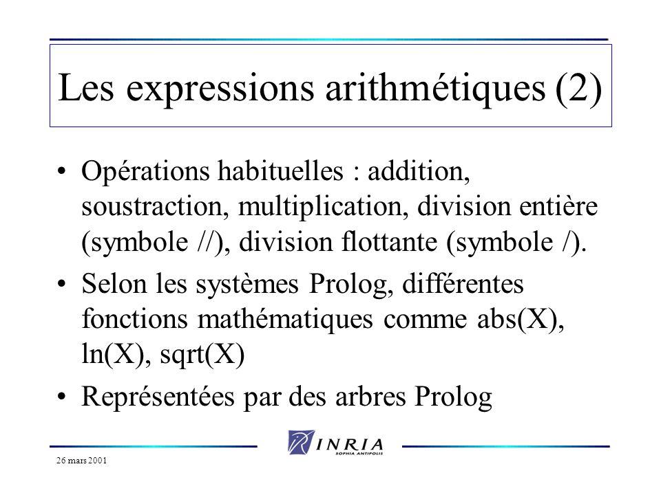 26 mars 2001 Les expressions arithmétiques (3) Expressions et unification : attention à certaines tentatives d unification *la tentative dunification entre 3+2 et 5 échouera.