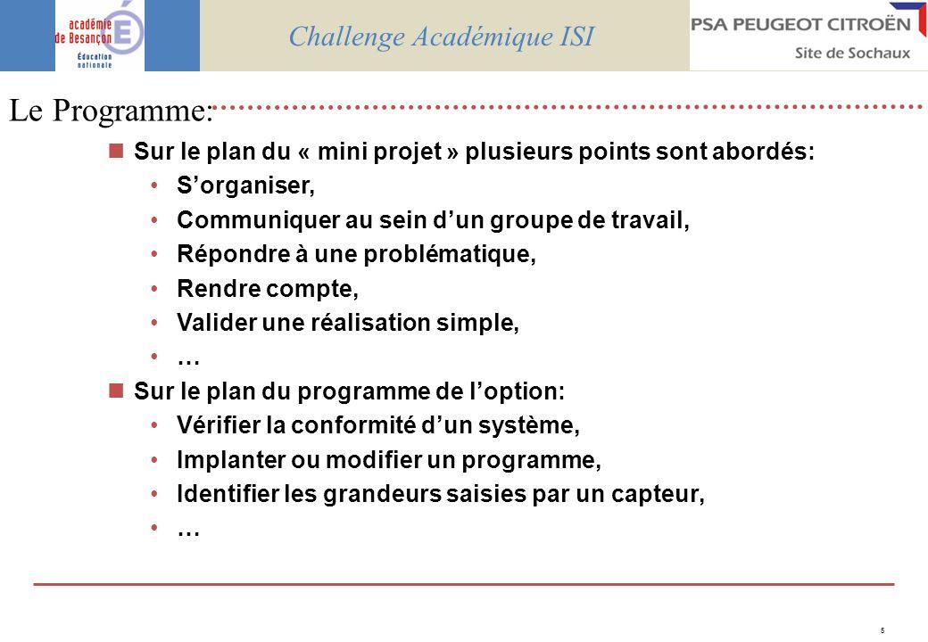 6 Lorganisation: Le jeudi 29 mai 2008 Au Musée Peugeot – Sochaux – Salle Franche Comté Challenge Académique ISI