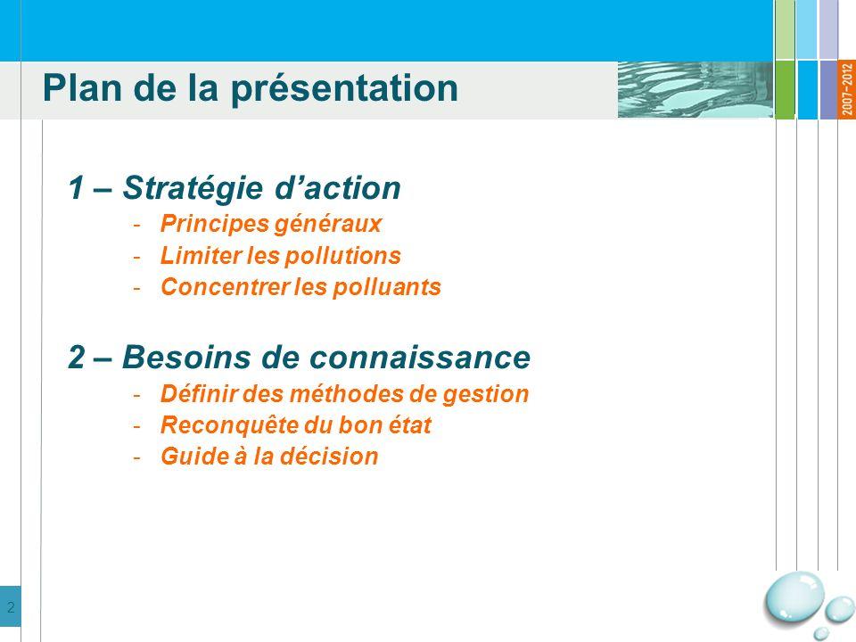 3 1 – Stratégie daction -Principes généraux -Limiter les pollutions -Concentrer les polluants 2 – Besoins de connaissance -Définir des méthodes de gestion -Reconquête du bon état -Guide à la décision Plan de la présentation