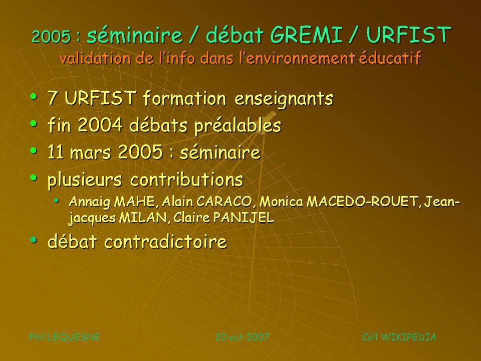 Avril 06 : étude INRP (Laure ENDRIZZI) INRP : Institut Nat.