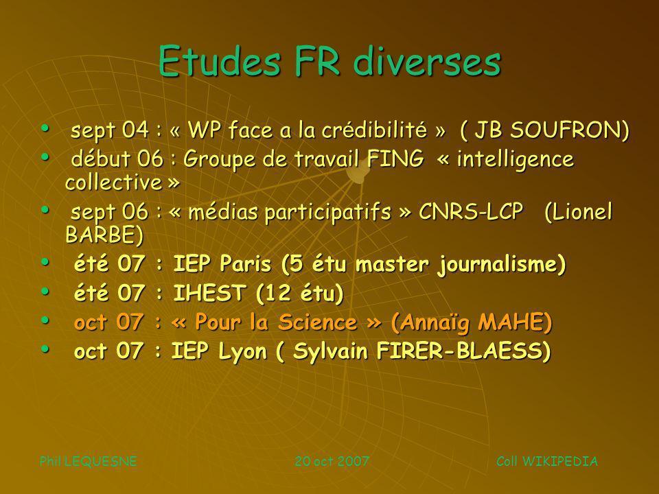 qq outils de recherche Stats diverses Stats diverses liveRC (recent changes) liveRC (recent changes) Wikiscanner (Virgil GRIFFITH aout 2007) Wikiscanner (Virgil GRIFFITH aout 2007) History Flow (IBM) History Flow (IBM) WikipediaViz (Autograph / INRIA) WikipediaViz (Autograph / INRIA) SearchCrystal SearchCrystal WP trust coloring demo http://trust.cse.ucsc.edu/ WP trust coloring demo http://trust.cse.ucsc.edu/ http://trust.cse.ucsc.edu/ …….