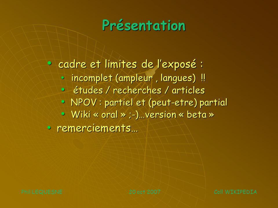 Thèmes abordés Phil LEQUESNE 20 oct 2007 Coll WIKIPEDIA LECTEURS Qui .