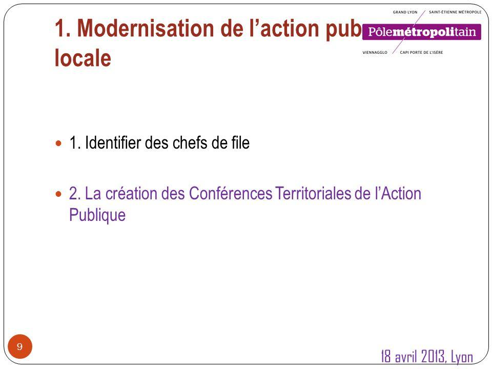 1.Modernisation de laction publique locale 10 1. Identifier des chefs de file 2.
