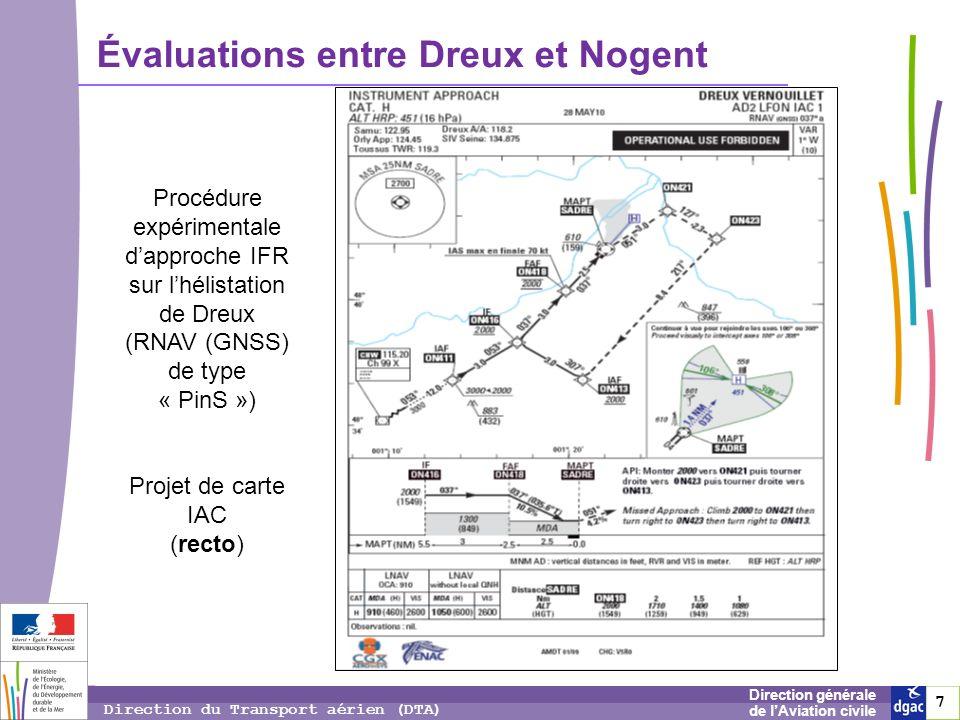 8 8 8 Direction générale de lAviation civile Direction du Transport aérien (DTA) Évaluations entre Dreux et Nogent Procédure expérimentale dapproche IFR sur lhélistation de Dreux (RNAV (GNSS) de type « PinS ») Projet de carte IAC (verso)
