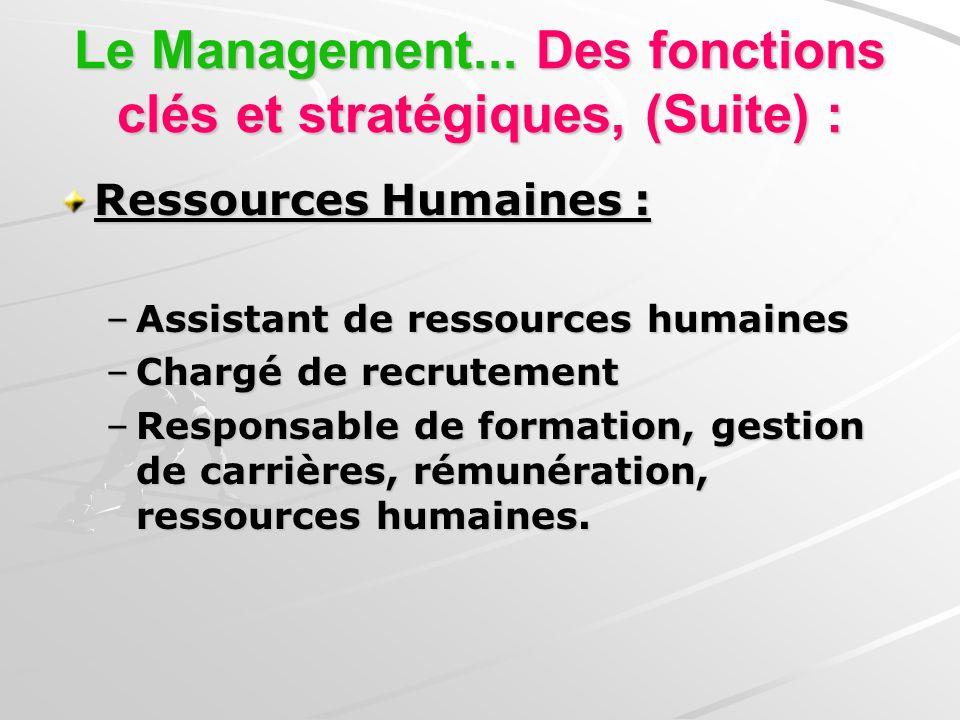 Management Les parcours Objectif : Études à 2 ou 3 ans après le Bac : –DUT GEA (Gestion des entreprises et des administrations): Étudier, La Gestion, la comptabilité et les ressources humaines.