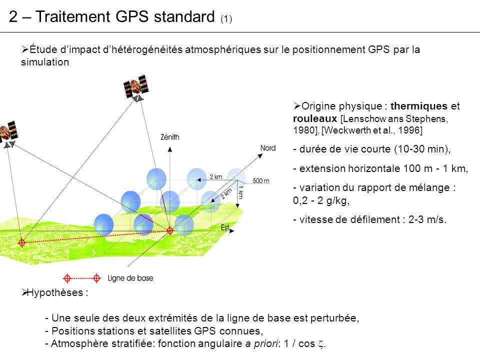 2 – Traitement GPS standard (2) Une modélisation simple datmosphère: - perturbations sphériques ( rayon = 500 m, altitude = 1 km ), - gradient dindice avec le milieu extérieur : 10 ppm ( ~1,5 g/kg soit 1 cm de ZTD ), - cas statiques et cas dynamiques ( v défilement = 2 m/s ).
