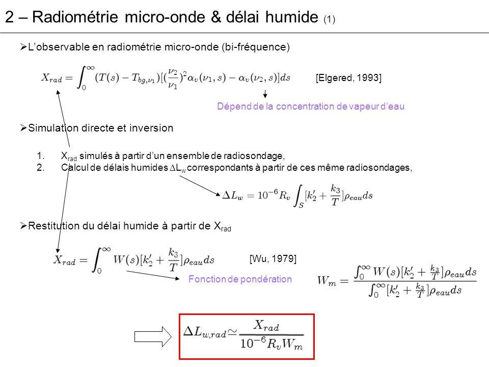 Erreurs de restitution (en terme de délai humide) = L w,rad - L w - Erreurs détalonnage 0.5 K soit 2-3 mm de ZWD [Liljegren, 1994].