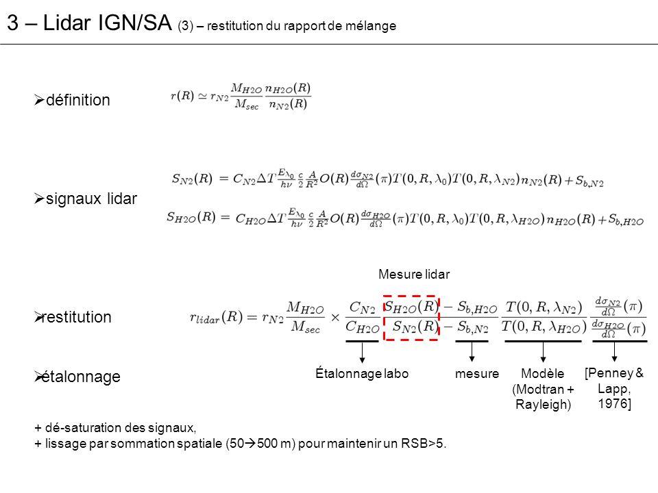 3 – Lidar IGN/SA (4) – résultats: comparaison avec RS co-localisé - 26-27 oct.