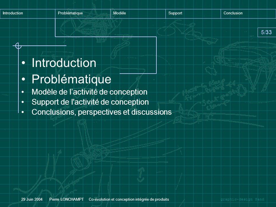 graphic-design Sand IntroductionProblématiqueModèleSupportConclusion 6/33 29 Juin 2004 Pierre LONCHAMPT Co-évolution et conception intégrée de produits Un nouveau paradigme industriel, lIngénierie concourante.