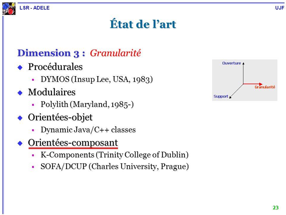 LSR - ADELE UJF 24 Plan Motivation, objectif et cadre de travail État de lart Expérimentations Noyau générique pour la reconfiguration dynamique : DYVA Conception et implémentation Personnalisation Conclusion et perspectives