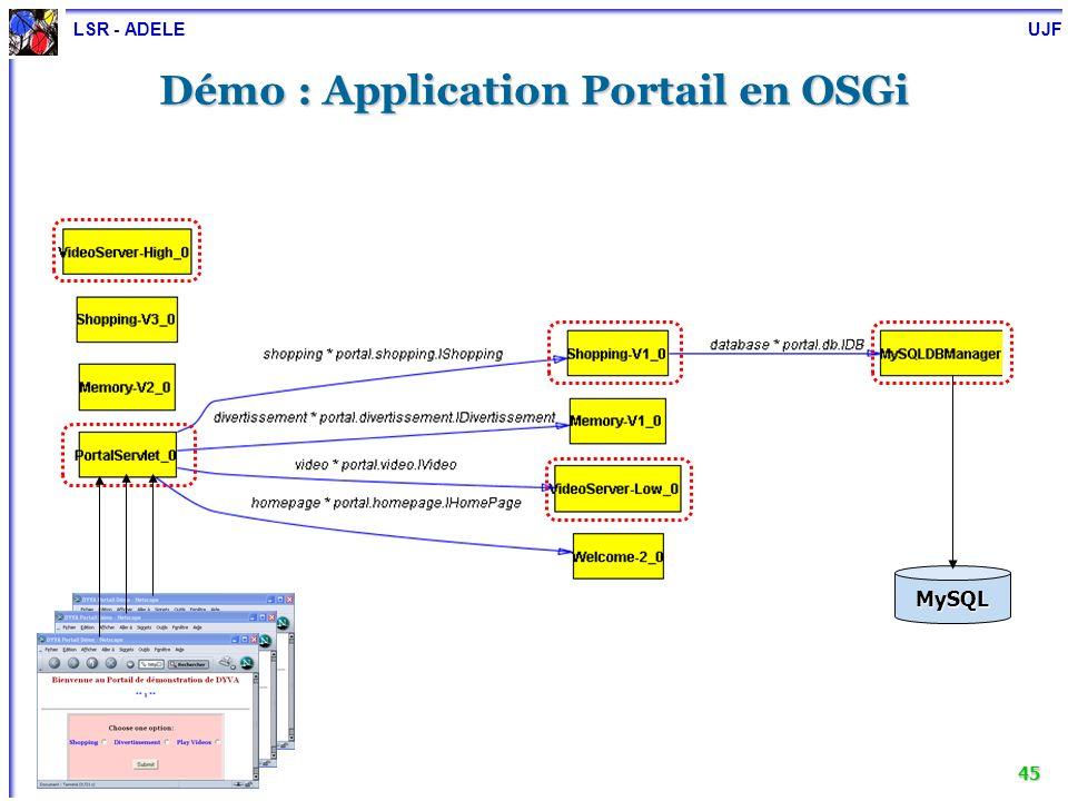 LSR - ADELE UJF 46 Démo : scénario de reconfiguration Règles Superviseur Événement Gestionnaire de Reconfiguration Gestionnaire du méta-niveau Application 600 400 Version haute qualité Version basse qualité