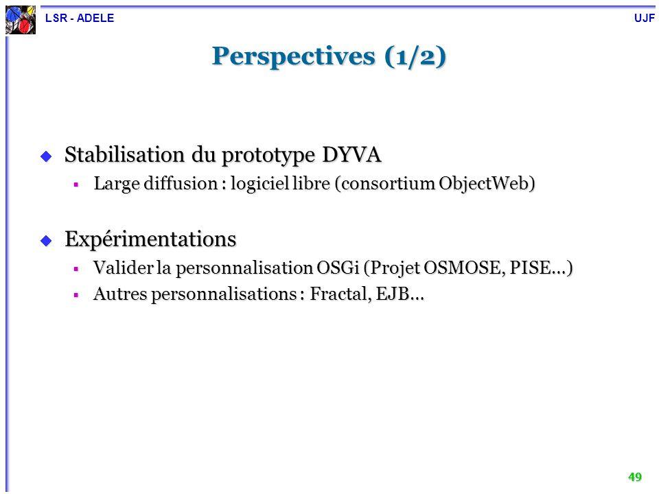 LSR - ADELE UJF 50 Perspectives (2/2) Recherche Recherche Formalisation du problème de transfert détat Formalisation du problème de transfert détat Solution conceptuelleSolution conceptuelle Automatisation du transfert détatAutomatisation du transfert détat Migration Migration Gestion de la cohérence de la reconfiguration Gestion de la cohérence de la reconfiguration Détection et résolution des anomalies lors de la reconfigurationDétection et résolution des anomalies lors de la reconfiguration États stablesÉtats stables Sensibilité au contexte : auto-reconfiguration Sensibilité au contexte : auto-reconfiguration Paradigmes : ECA, agents…Paradigmes : ECA, agents…