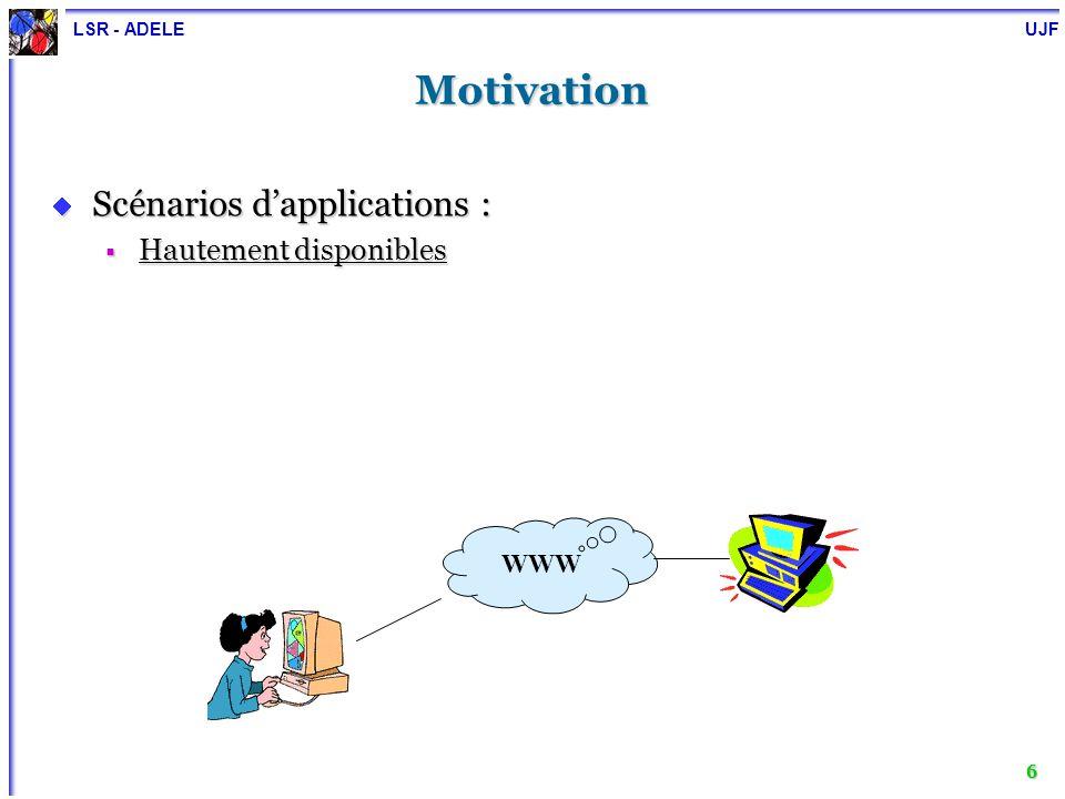 LSR - ADELE UJF 7 Motivation Scénarios dapplications : Scénarios dapplications : Hautement disponibles Hautement disponibles Distribuées, large échelle Distribuées, large échelle