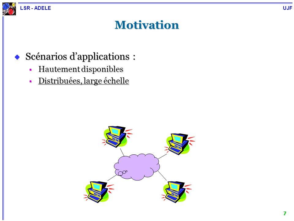 LSR - ADELE UJF 8 Motivation Scénarios dapplications : Scénarios dapplications : Hautement disponibles Hautement disponibles Distribuées, large échelle Distribuées, large échelle Clients hétérogènes Clients hétérogènes WWW