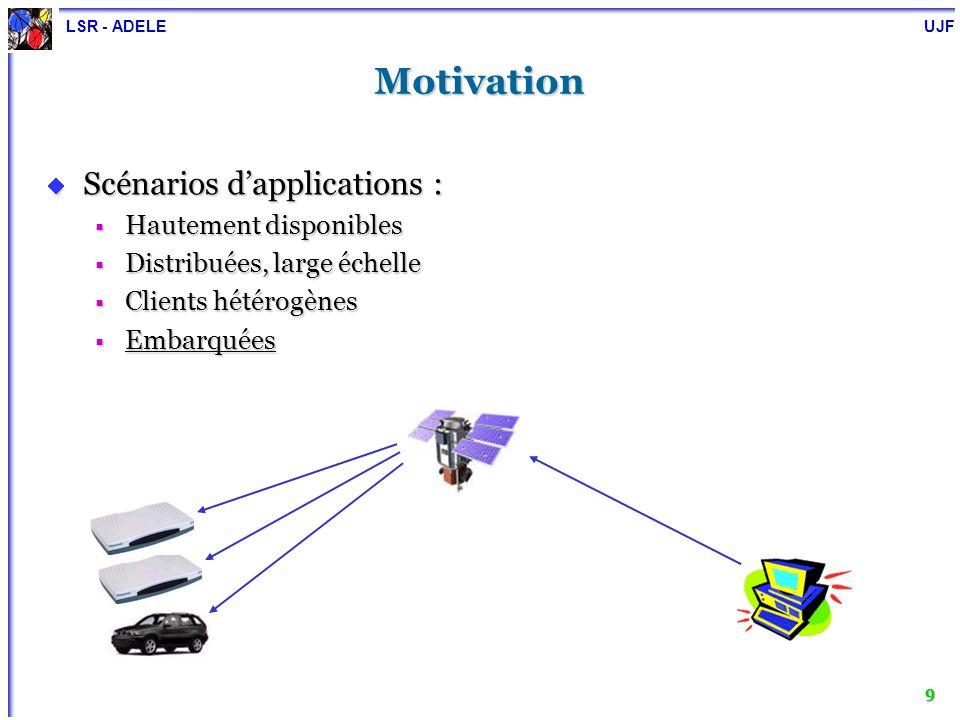 LSR - ADELE UJF 10 Objectif Traiter la reconfiguration dynamique comme un concept non-fonctionnel Traiter la reconfiguration dynamique comme un concept non-fonctionnel Séparation des préoccupations Séparation des préoccupations Conception et développement dun système de reconfiguration dynamique « générique » pour les applications à base de composants Conception et développement dun système de reconfiguration dynamique « générique » pour les applications à base de composants Indépendant des applications à reconfigurer Indépendant des applications à reconfigurer Indépendant des modèles de composants sous-jacents Indépendant des modèles de composants sous-jacents Facile à utiliser Facile à utiliser Automatisé le plus possible Automatisé le plus possible Code de lapplication Code non-fonctionnel Avec Séparation de préoccupations Sans Séparation de préoccupations Code de la reconfiguration