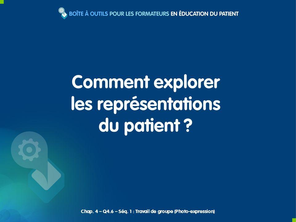 Explorer les représentations du patient.Objectif Chap.
