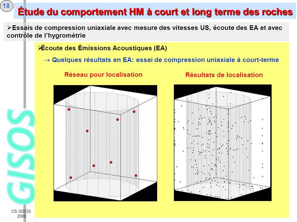 CS GISOS 2009 19 Les propriétés élastiques anisotropes dun calcaire oolithique ont été déterminées au moyen de mesures des vitesses de propagation des ondes ultrasonores élastiques.