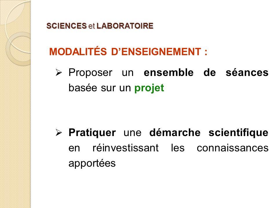 SCIENCES et LABORATOIRE MODALITÉS DENSEIGNEMENT : Des études de cas Séquence construite par le professeur.
