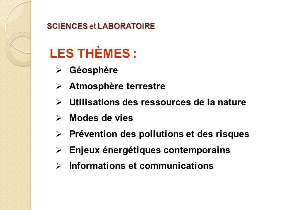 SCIENCES et LABORATOIRE LES THÈMES : Le professeur choisit trois thèmes parmi les sept proposés de façon à explorer des domaines variés.