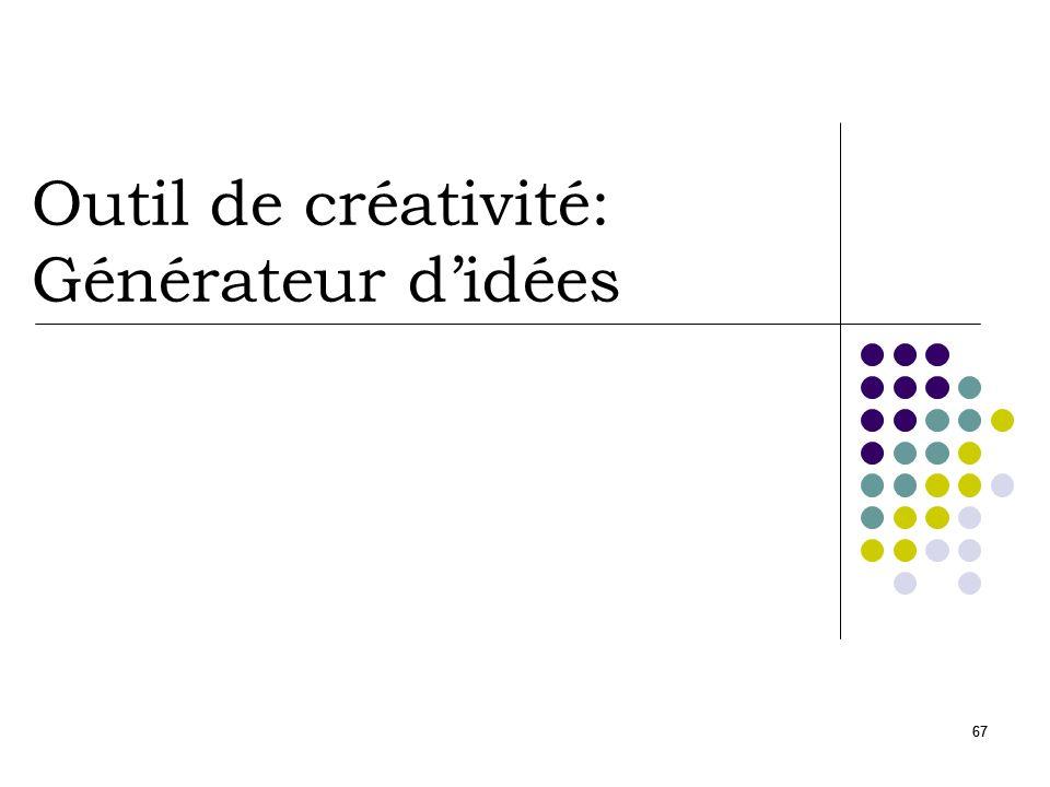 68 Générateur didées Principe Outil de créativité Extraire de nouveaux concepts Étapes Définir un focus Insérer une entrée au hasard Générer des idées Faire sortir un concept 1 … 2 concept