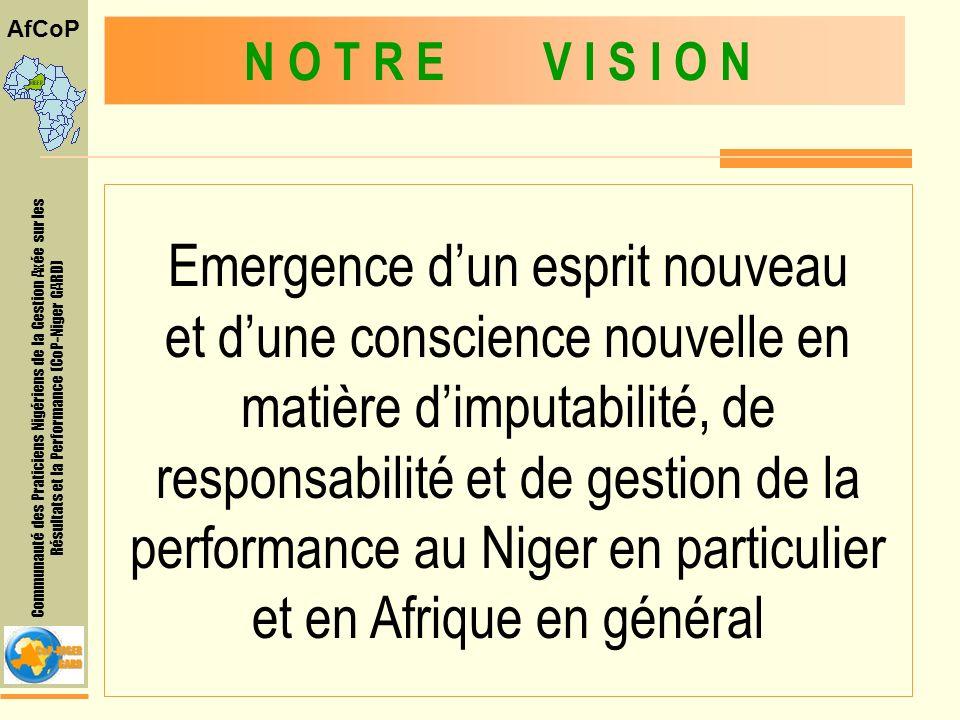 Communauté des Praticiens Nigériens de la Gestion Axée sur les Résultats et la Performance (CoP-Niger GARD) AfCoP Offrir une plate-forme pour léchange des expériences et des connaissances entre des praticiens qui cherchent à développer et à élargir leurs capacités et promouvoir la gestion axée sur les résultats de développement et la Performance à tous les niveaux O B J E C T I F