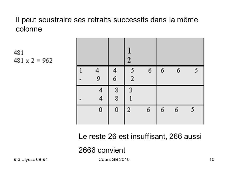 9-3 Ulysse 68-94Cours GB 201011 Lélève peut se hésiter sur le quotient et calculer plusieurs options 2886 est trop grand 2405 convient, le quotient est 5… Mais 5 quoi .