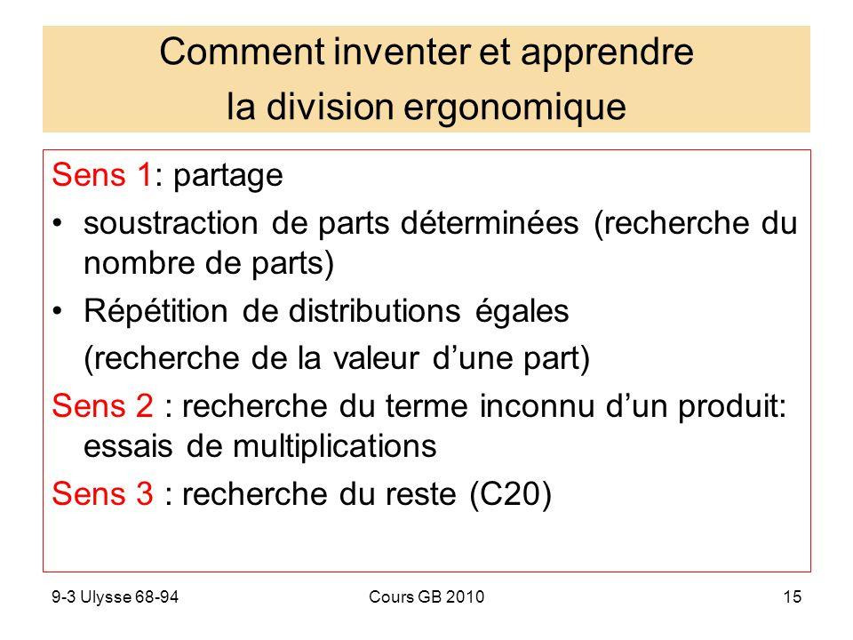 9-3 Ulysse 68-94Cours GB 201016 Effet de variables ergonomiques Ébauches à propos de la soustraction, de la division