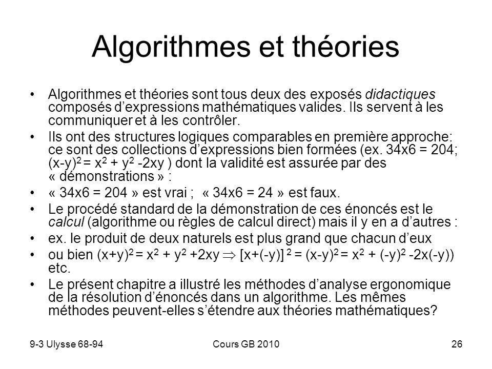 9-3 Ulysse 68-94Cours GB 201027 Un algorithme est une collection dénoncés dont la validité est directement établie par un schéma de démonstration unique, un même calcul.