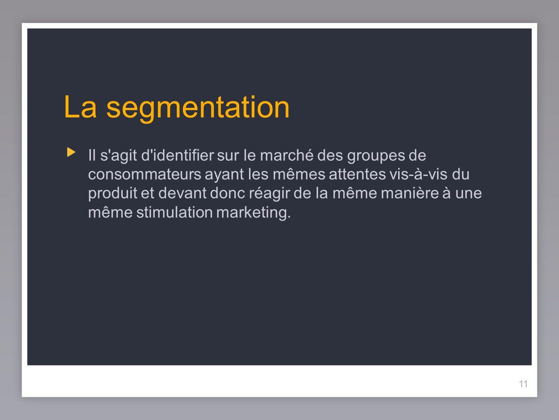 12 La segmentation La segmentation est l art et la science de diviser les populations ou les objets en groupes distincts.