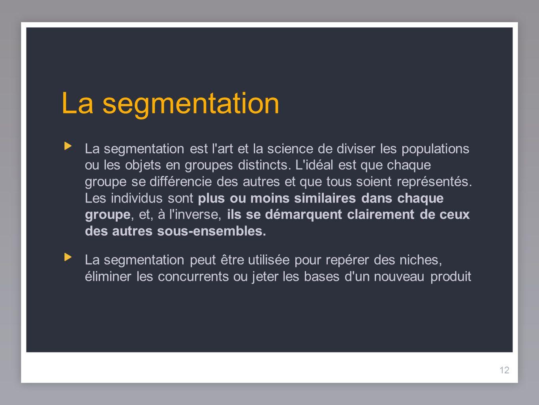 13 Critères de segmentation Les segments peuvent être définis en fonction de plusieurs caractéristiques: Ils peuvent être composés d individus, de foyers, d entreprises, de codes postaux ou de villes.